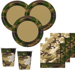 32 Teile Camouflage Party Deko Set für 8 Personen