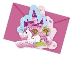 6 Einladungskarten kleines Einhorn