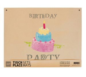 Birthday - 12 Platzsets aus Packpapier