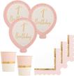 48 Teile 1. Geburtstag Ballonparty in Rosa und Gold Glanz für 16 Personen