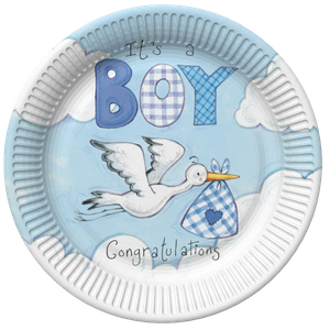 48 Teile Baby Shower Deko Set Storch in Blau 16 Personen – Bild 2