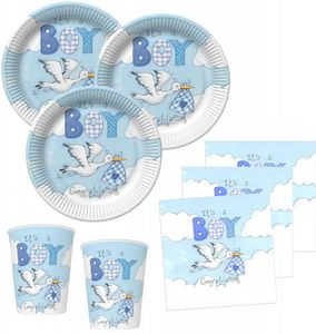 48 Teile Baby Shower Deko Set Storch in Blau 16 Personen