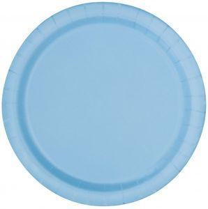 8 kleine Papp Teller Hellblau