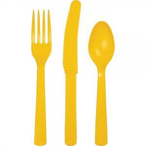 18 Teile Plastik Besteck Sonnen Gelb