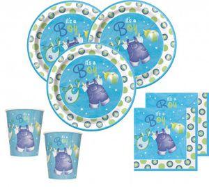 48 Teile Baby Shower Deko Set Wäscheleine Blau für 16 Personen