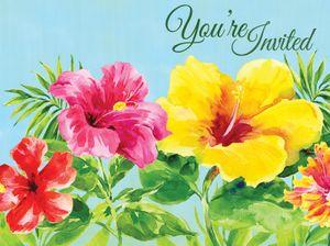 8 Einladungskarten Hibiskus Sommer Party