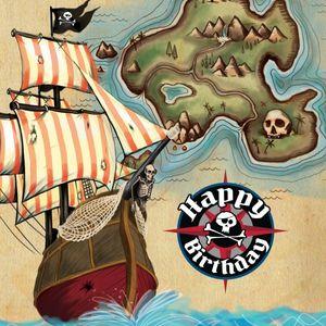 16 Geburtstags Servietten Piraten Paradies
