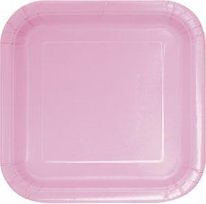 14 quadratische Papp Teller Baby Rosa