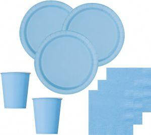 [Paket] 36 Teile Party Deko Set Hellblau für 8 Personen