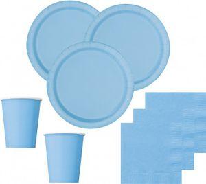 [Paket] 52 Teile Party Deko Set Hellblau für 16 Personen