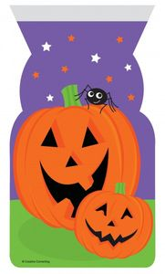 12 Halloween Zipper Zellophantüten Kürbis