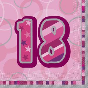 48 Servietten zum 18. Geburtstag in Pink