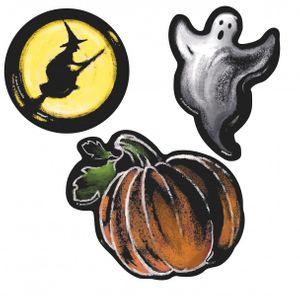 6 kleine Halloween Pappschilder Kürbis Geister