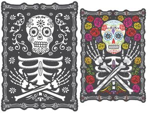 Day of the Dead Totenkopf Pappschild Wackelbild