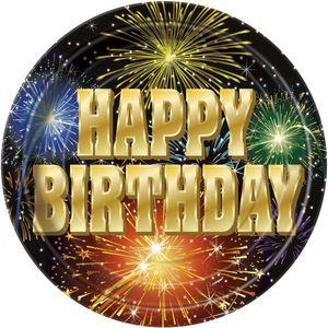 8 kleine Teller Happy Birthday Feuerwerk