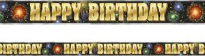 Folien Banner Happy Birthday Feuerwerk 3,65m