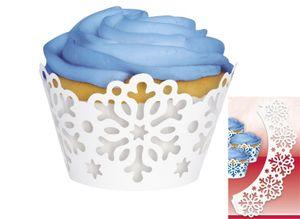 12 Muffin Förmchen Schneeflocken Wraps