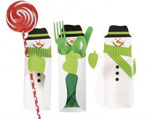 8 Besteck oder Süßigkeiten Wraps Schneemann – Bild 2