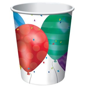 8 Papp Becher bunte Ballons Party