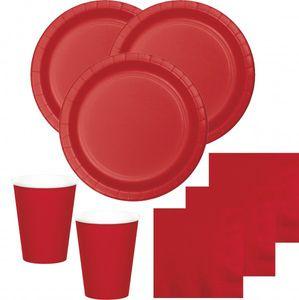 52 Teile Party Deko Set Klassisch Rot für 16 Personen – Bild 1