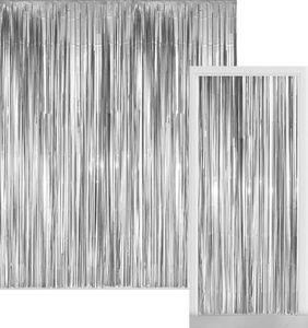 Glitzer Fransen Party Vorhang in Silber Metallic - Fotobox 2,4 Meter lang