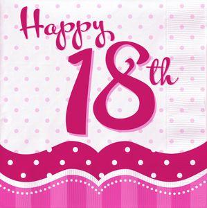 18 Servietten Perfectly Pink zum 18. Geburtstag