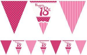 Papier Wimpel Girlande Perfectly Pink zum 18. Geburtstag