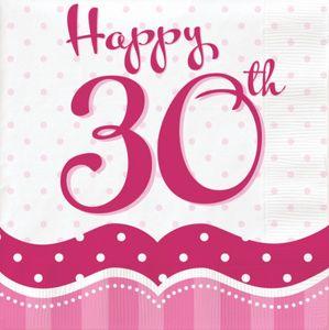 18 Servietten Perfectly Pink zum 30. Geburtstag