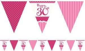 Papier Wimpel Girlande Perfectly Pink zum 30. Geburtstag