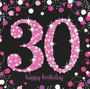 16 Servietten Glitzerndes Pink und Schwarz 30. Geburtstag