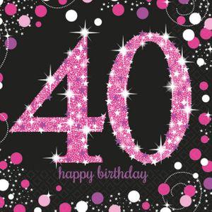 16 Servietten Glitzerndes Pink und Schwarz 40. Geburtstag