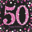 16 Servietten Glitzerndes Pink und Schwarz 50. Geburtstag