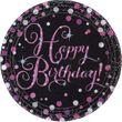 8 Teller Happy Birthday Glitzerndes Pink und Schwarz