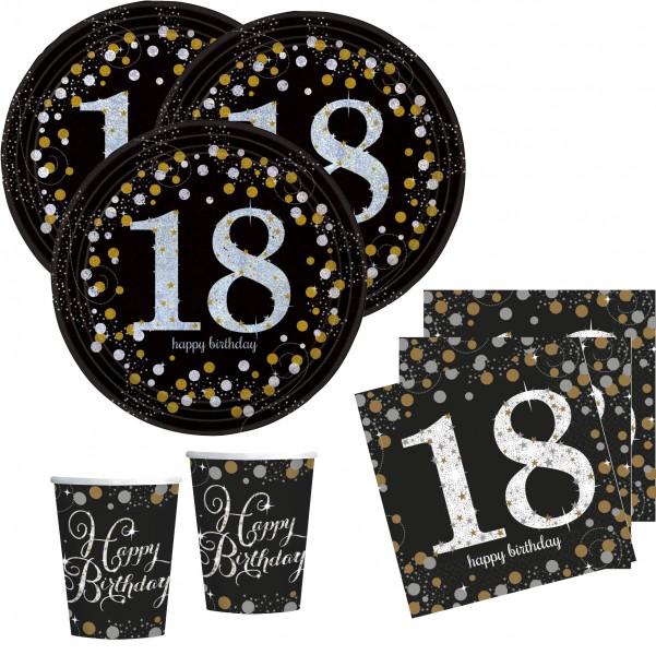 16 servietten glitzerndes gold und schwarz 18 geburtstag. Black Bedroom Furniture Sets. Home Design Ideas