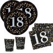 16 Servietten Glitzerndes Gold und Schwarz 18. Geburtstag