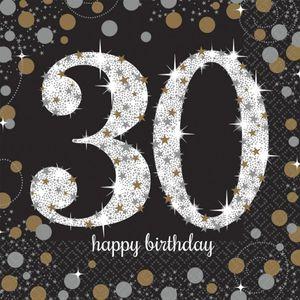 16 Servietten Glitzerndes Gold und Schwarz 30. Geburtstag