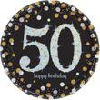 8 Teller Glitzerndes Gold und Schwarz 50. Geburtstag