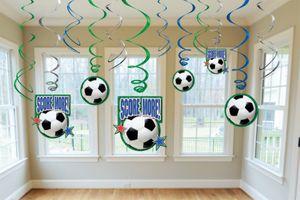 12 Fußball Swirl Girlanden