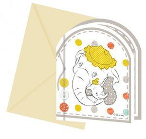 6 Einladungskarten Disney Babyshower