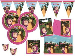 90 Teile Mascha und der Bär Party Deko Set für 16 Kinder – Bild 1