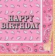 16 Geburtstags Servietten Western Bandana Pink