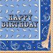 32 tlg Happy Birthday Westernreiten Bandana Blau Party Deko 8 Personen