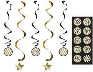 5 hängende Girlanden Black and Gold