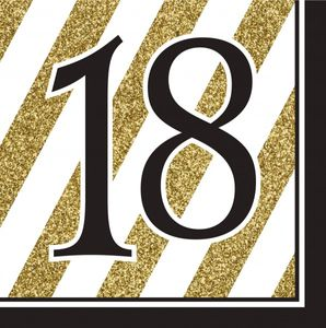 16 Servietten 18. Geburtstag Black and Gold