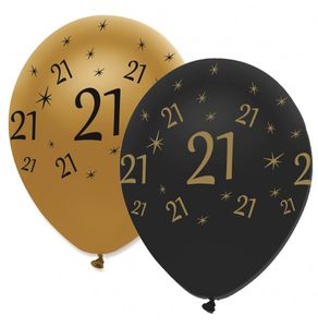 6 Luftballons 21. Geburtstag Black and Gold