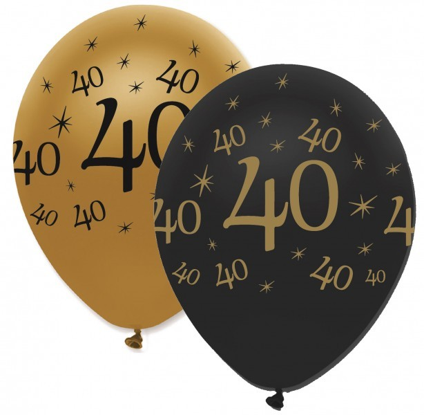 50 Luftballons 40 Geburtstag Black And Gold