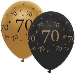 6 Luftballons 70. Geburtstag Black and Gold