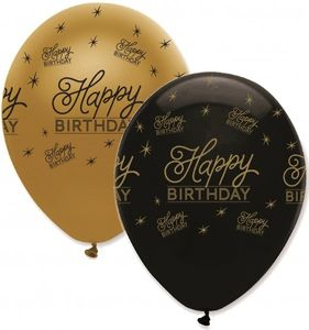 50 Happy Birthday Geburtstags Luftballons Black and Gold