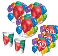 16 Servietten 50. Geburtstag bunte Ballons Party
