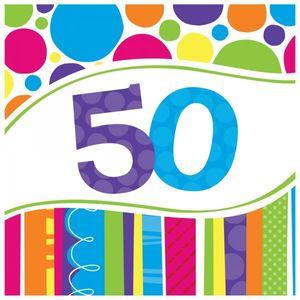 16 Servietten 50. Geburtstag Punkte und Streifen